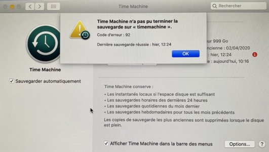 Time Machine Erreur 92 lors de sauvegarde sur Mac