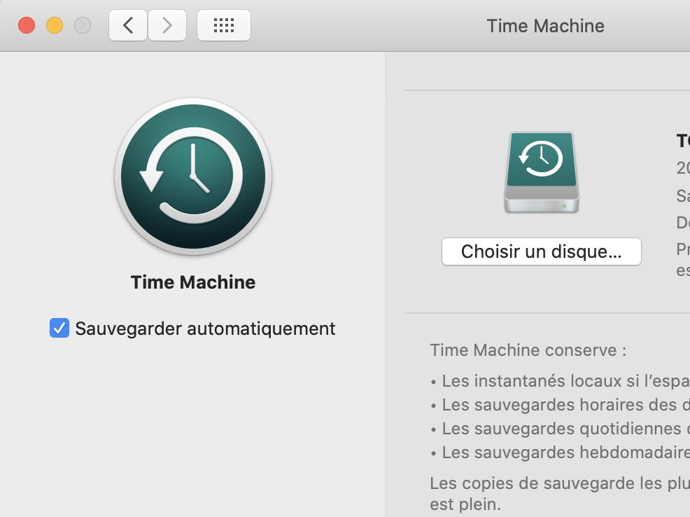 Time Machine sur Mac os X Catalina préférences système : Choisir un disque